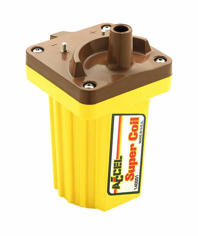 hight resolution of accel ignition 140001 ignition coil super coil canister 45000 volts 0 700 ohms primary resistance 11 8k ohms secondary resistance 70 1 turns ratio