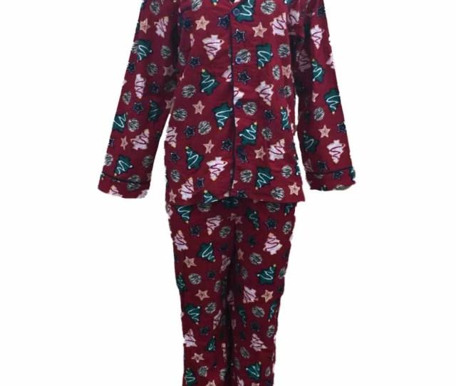 Insomniax Women Red Holiday Print Flannel Pajamas Christmas Tree Sleep Set Pjs