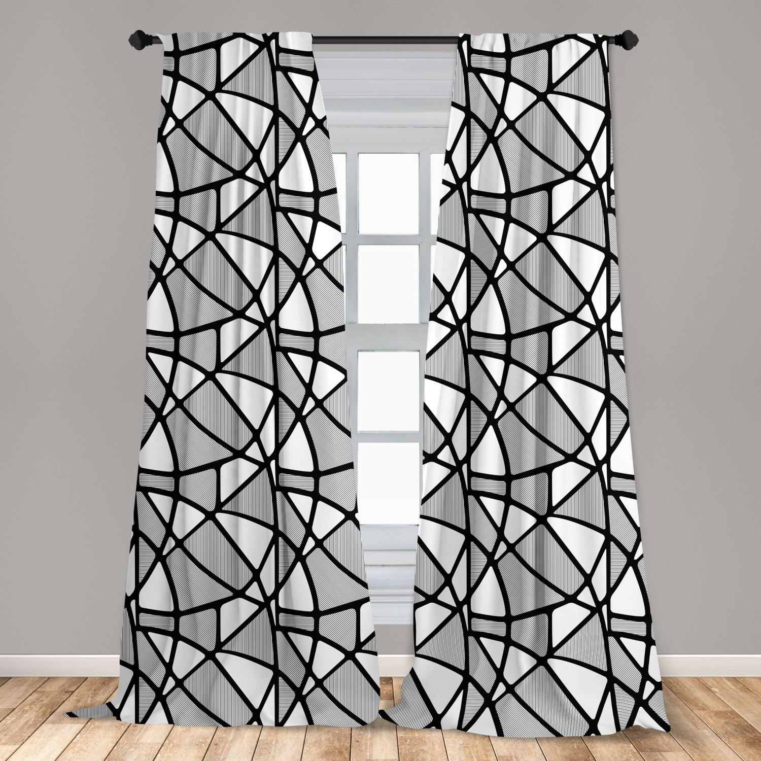black and white curtains 2 panels set geometrical pattern with abstract design thick and thin lines tile window drapes for living room bedroom