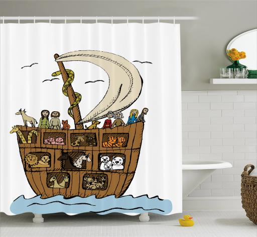 Religious Shower Curtain Ancient Flood Story Concept