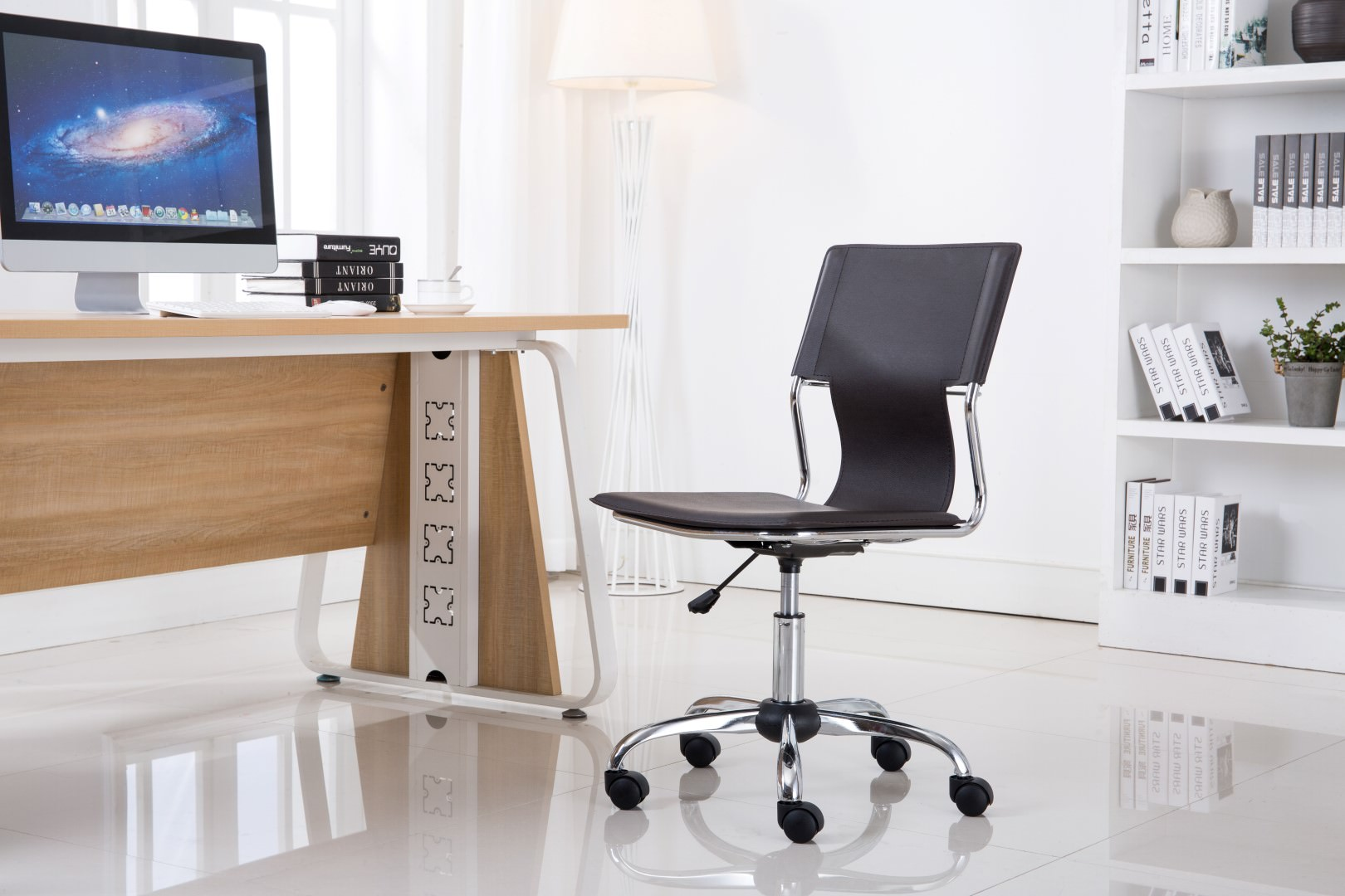 swivel office chair without arms rocking and ottoman set porthos home with pvc upholstery 360 degree adjustable height