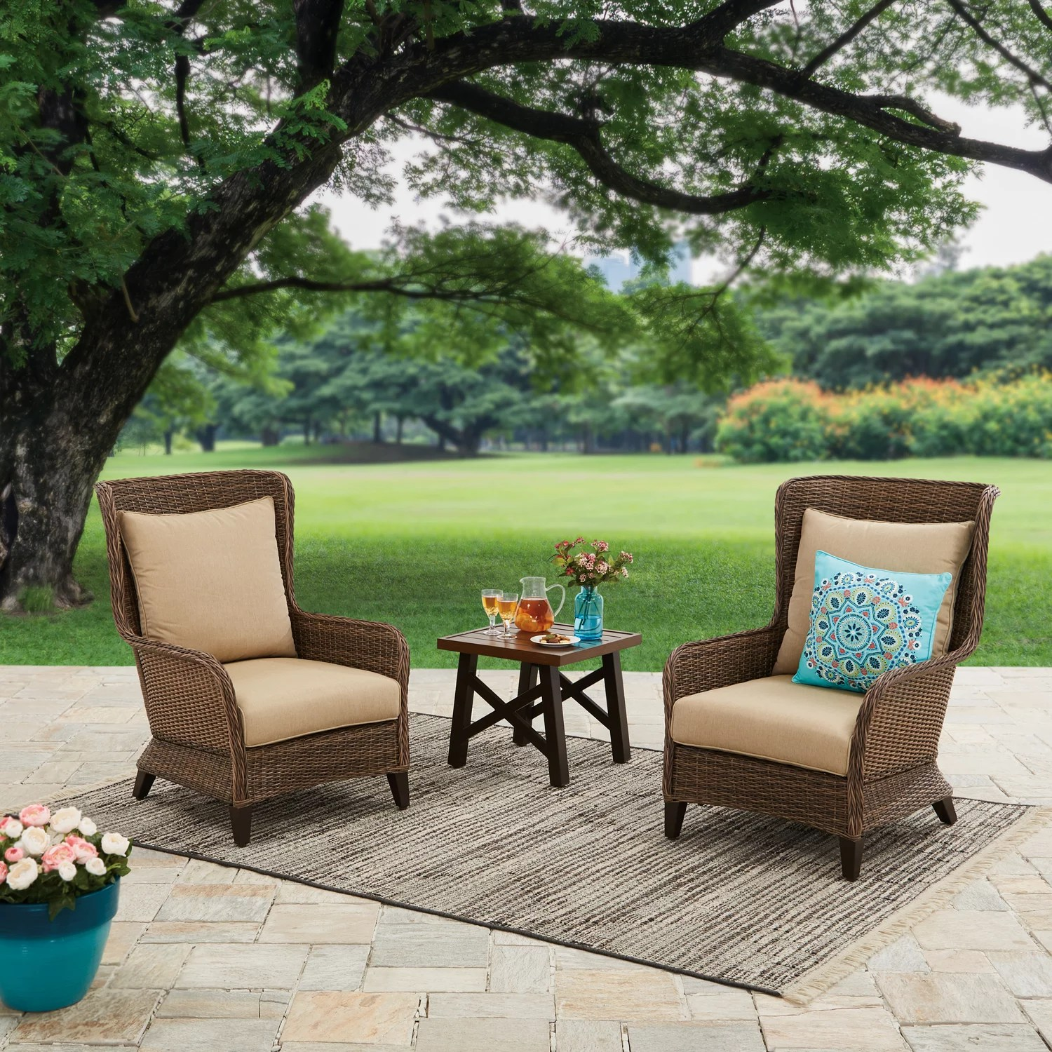 better homes gardens camrose farmhouse 3 piece outdoor chat set with beige cushions