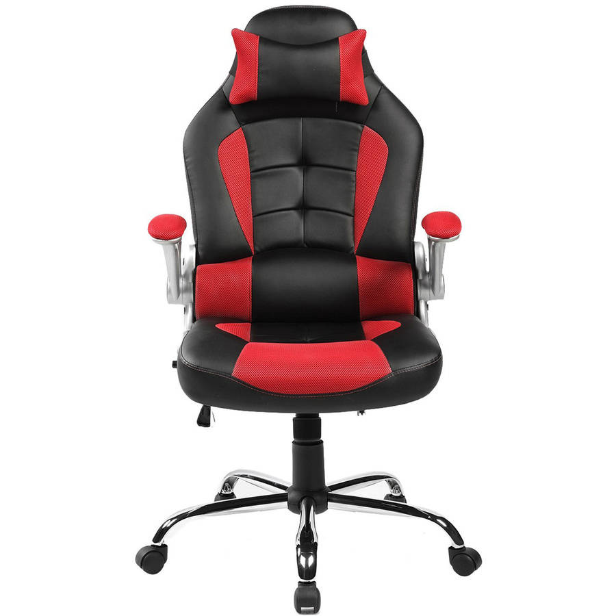 leather chair office video rocker gaming merax ergonomic big tall with footrest black walmart com