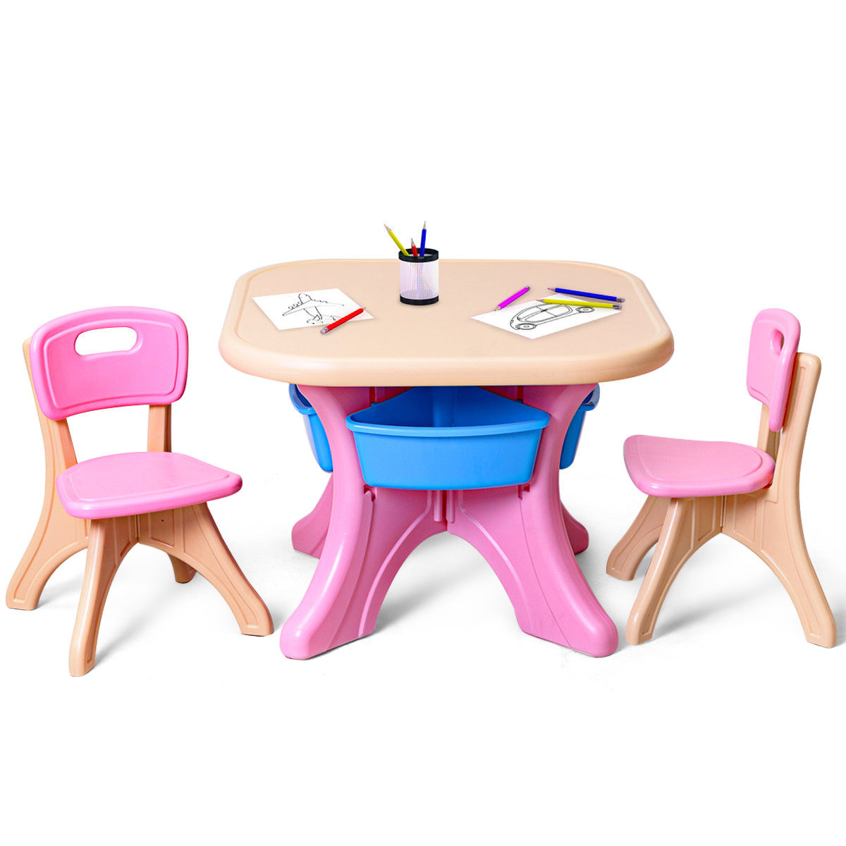 plastic kids table and chairs macys dining gymax children chair set 3 pc play furniture walmart com