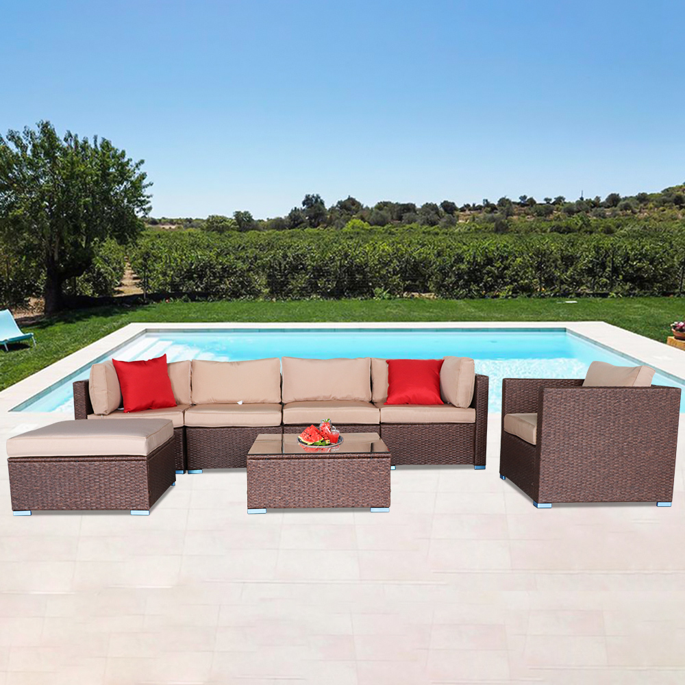oshion 7 pieces outdoor patio furniture pe rattan wicker sectional sofa sets with cushions