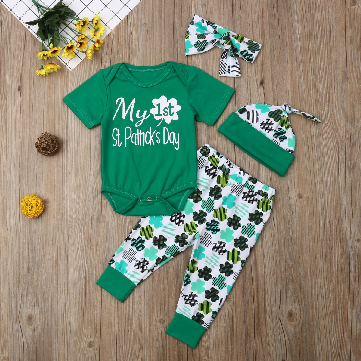 pcs clothes baby boys girls letter print rompers and four leaf clover stripe pants hat headband walmart also rh