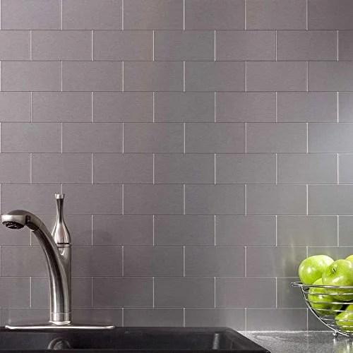 peel and stick kitchen backsplash adhesive metal tiles for wall 3 x 6 subway tile 104 pack