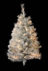 3' Pre-Lit Silver Tinsel Artificial Christmas Wall Tree ...