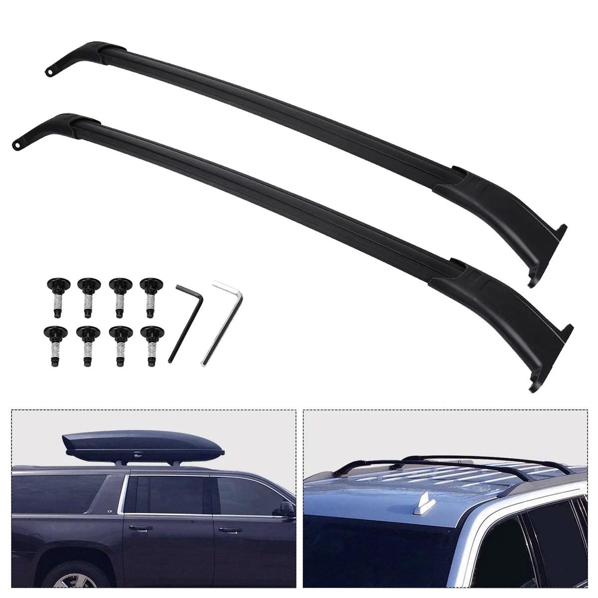 black roof rack cross bars for 2015 2020 chevy suburban chevy tahoe gmc yukon yukon xl cadillac escalade cadillac escalade esv