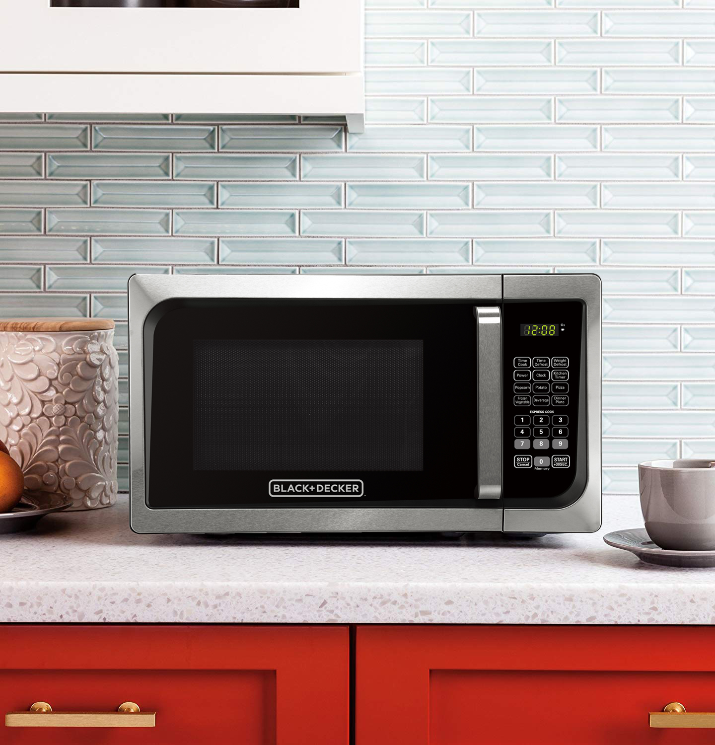 black decker em925ajk p1 0 9 cu ft microwave with pull handle stainless steel
