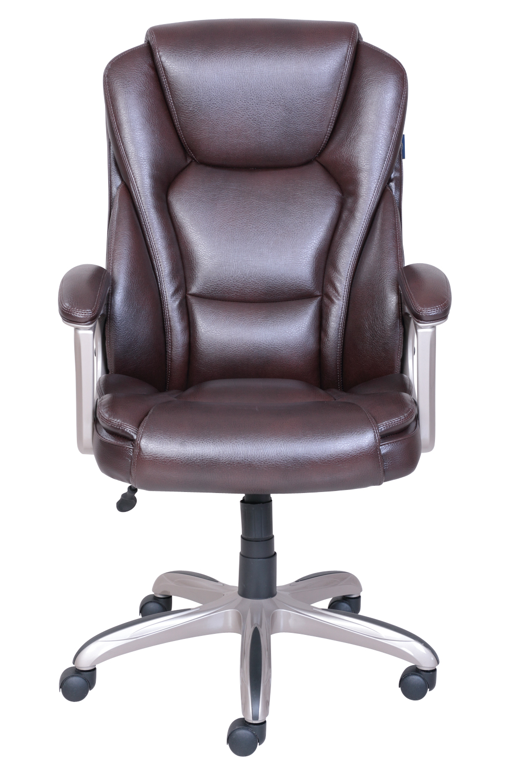 brown computer chair with built in bookshelf office desk leather executive high back ergonomic swivel