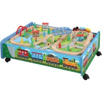 62-Piece Wooden Train Set with Train Table/Trundle, BRIO ...