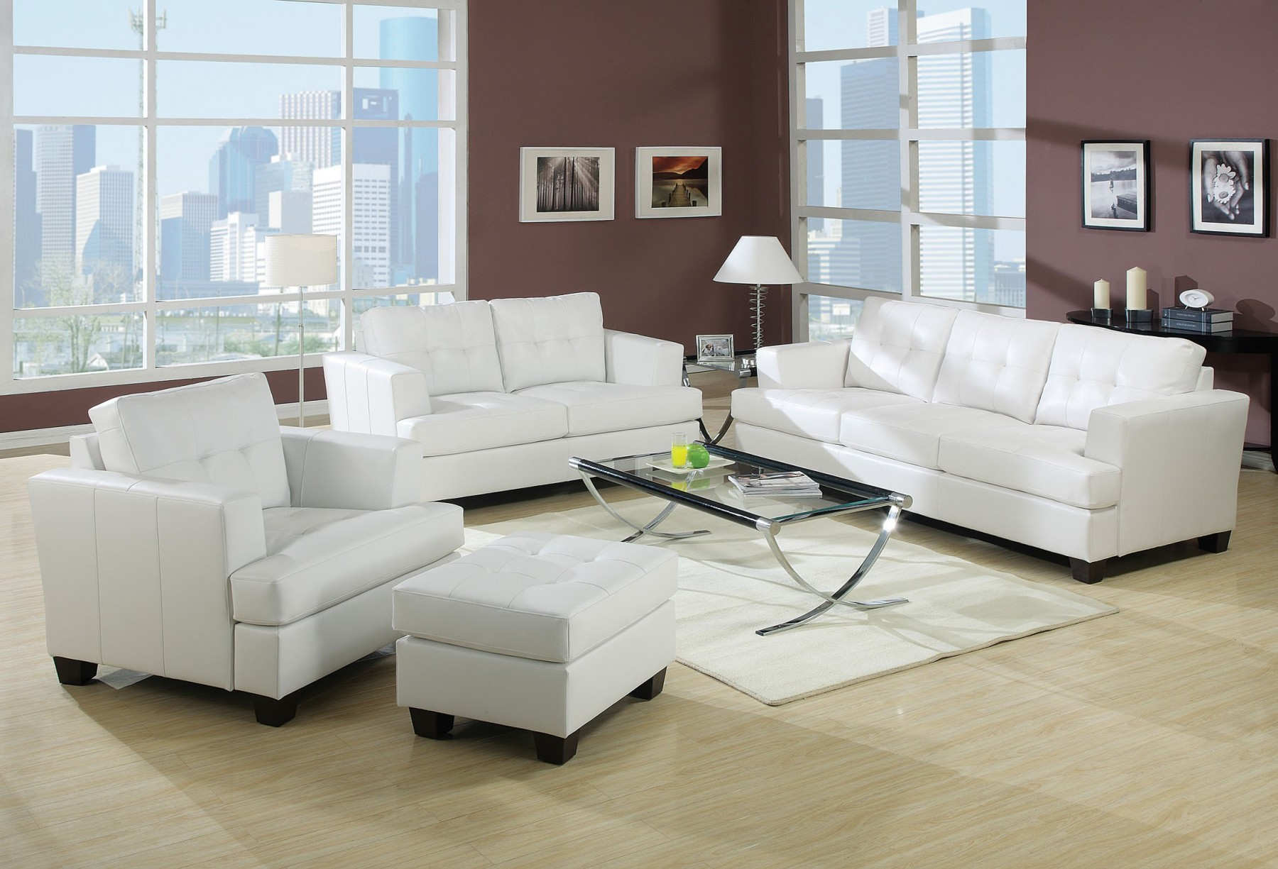 contemporary white leather living room chairs outdoor rooms on a budget acme platinum sofa set loveseat chair bonded tufted back couch plush 3pc walmart com