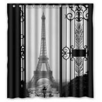 GreenDecor Paris Eiffel Tower Waterproof Shower Curtain ...