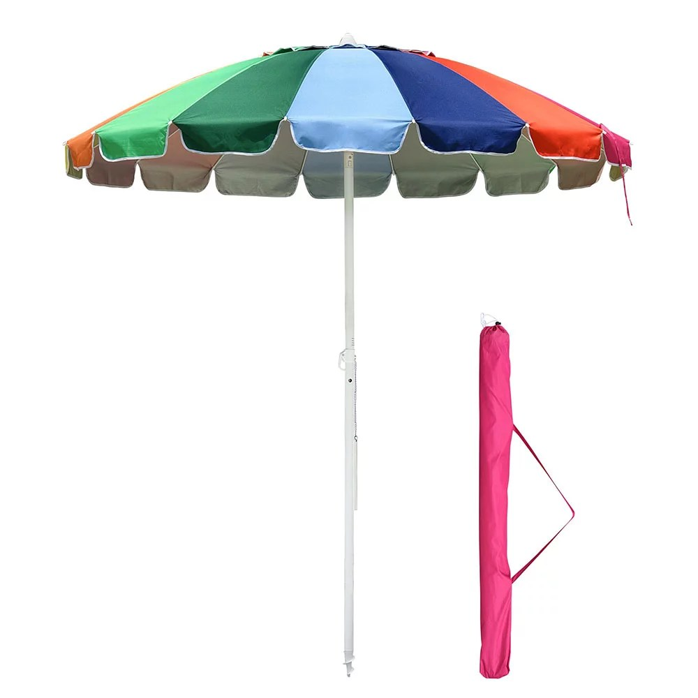 yescom rainbow beach patio umbrella w metal frame 16 rib tilt market table umbrella outdoor sunshade cover sand anchor walmart com