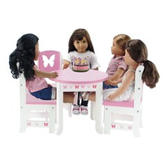American Girl Doll Chairs Chicco Caddy Hook On Chair Recall 18 Inch Furniture Lovely Pink And White Table 4 Value Pack Dining Set With Beautiful Butterfly Motif Fits Dolls Walmart