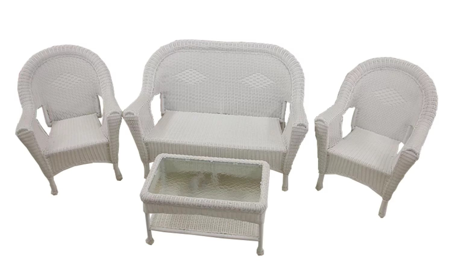 4 piece white resin wicker patio furniture set 2 chairs loveseat table walmart com