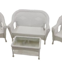 Vinyl Wicker Chairs Electric Lift Perth 4 Piece White Resin Patio Furniture Set 2 Loveseat Table Walmart Com