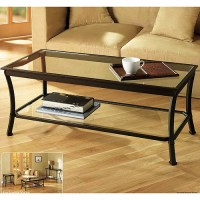 Mendocino Coffee Table, Metal & Glass - Walmart.com