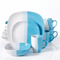 Surreal Hues 16-Piece Square Dinnerware Set- Blue ...