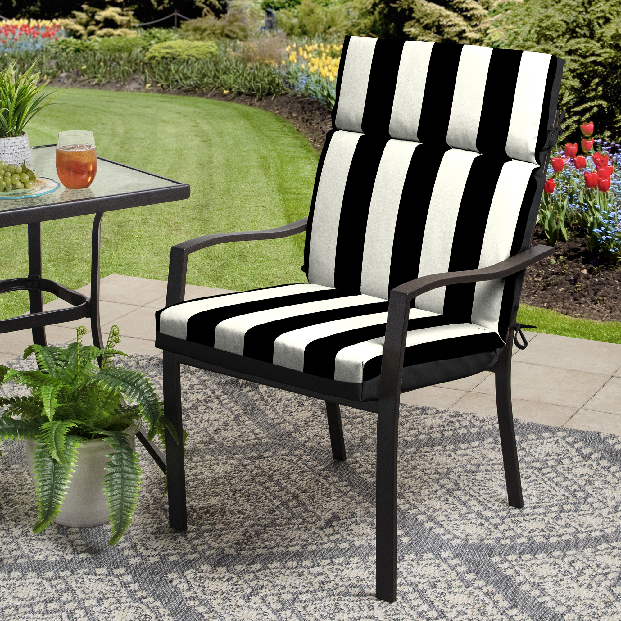 better homes gardens black and white stripe 44 x 21 in outdoor chair cushion