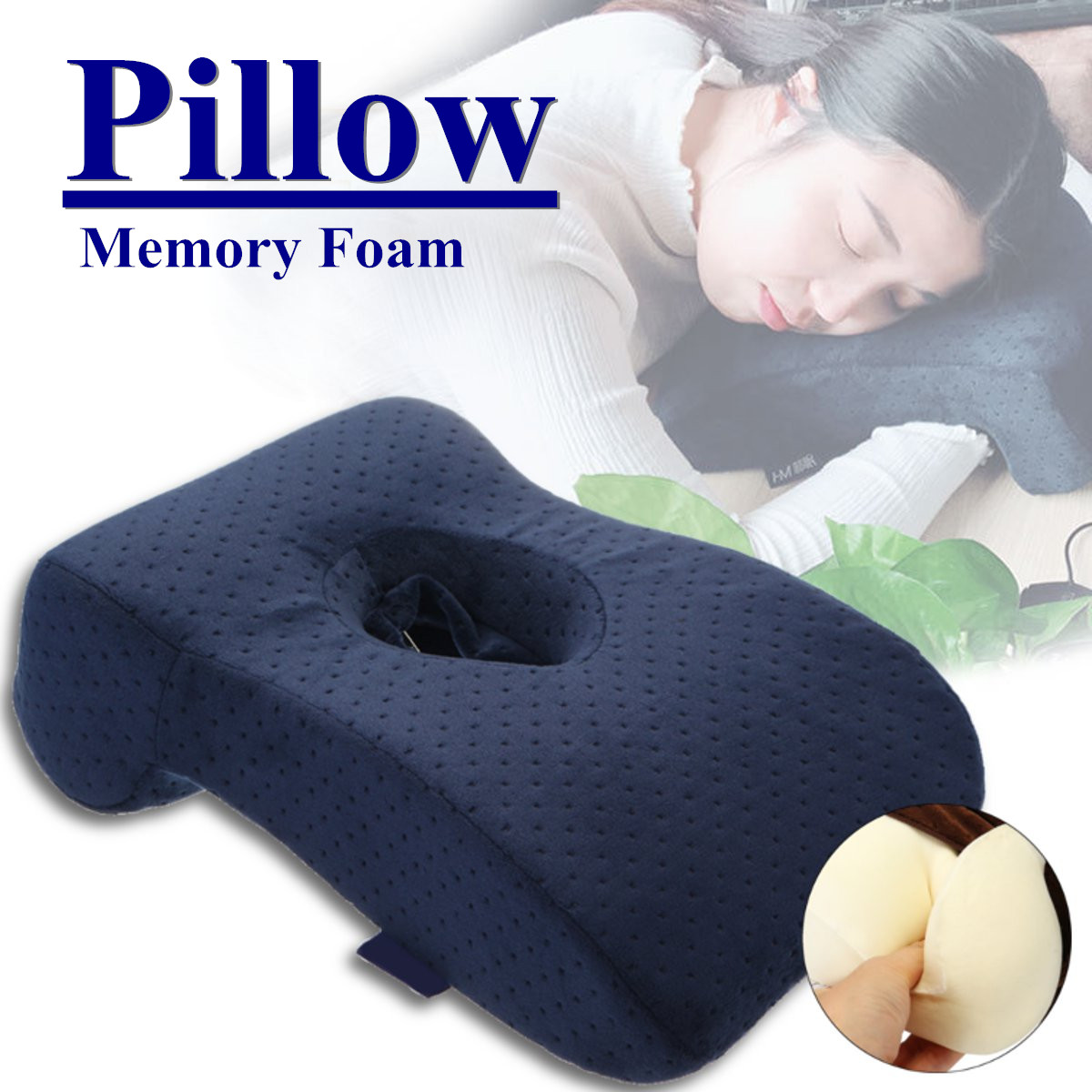 nap sleeping face pillow relief for cnh memory foam slow rebound face down desk pillow sleeper back support hollow design removable washable cover