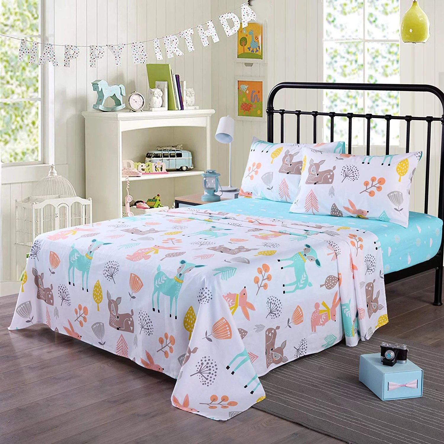 100 cotton sheets kids twin sheets for kids girls boys teens children sheets bed sheets for kids soft fitted flat printed sheet pillowcase bedding