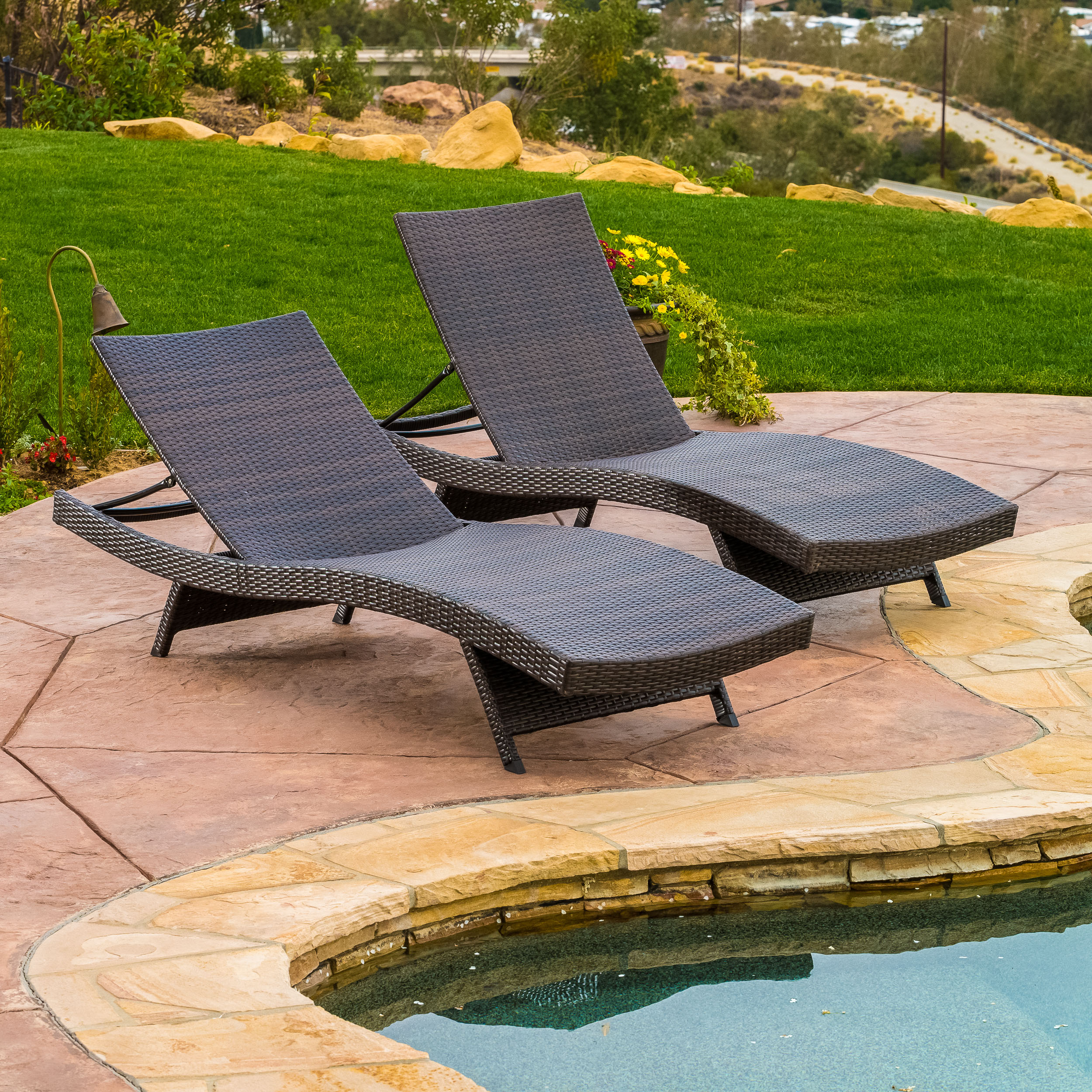 Chairs For Pool Berkeley Outdoor Brown Wicker Adjustable Chaise Lounge Chair Set Of 2