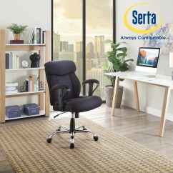 Serta Managers Chair Steel Match Black Mesh Fabric Big And Tall Manager Office