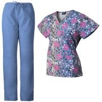 MedGear Womens Scrubs Set Printed Scrub Top & Matching ...