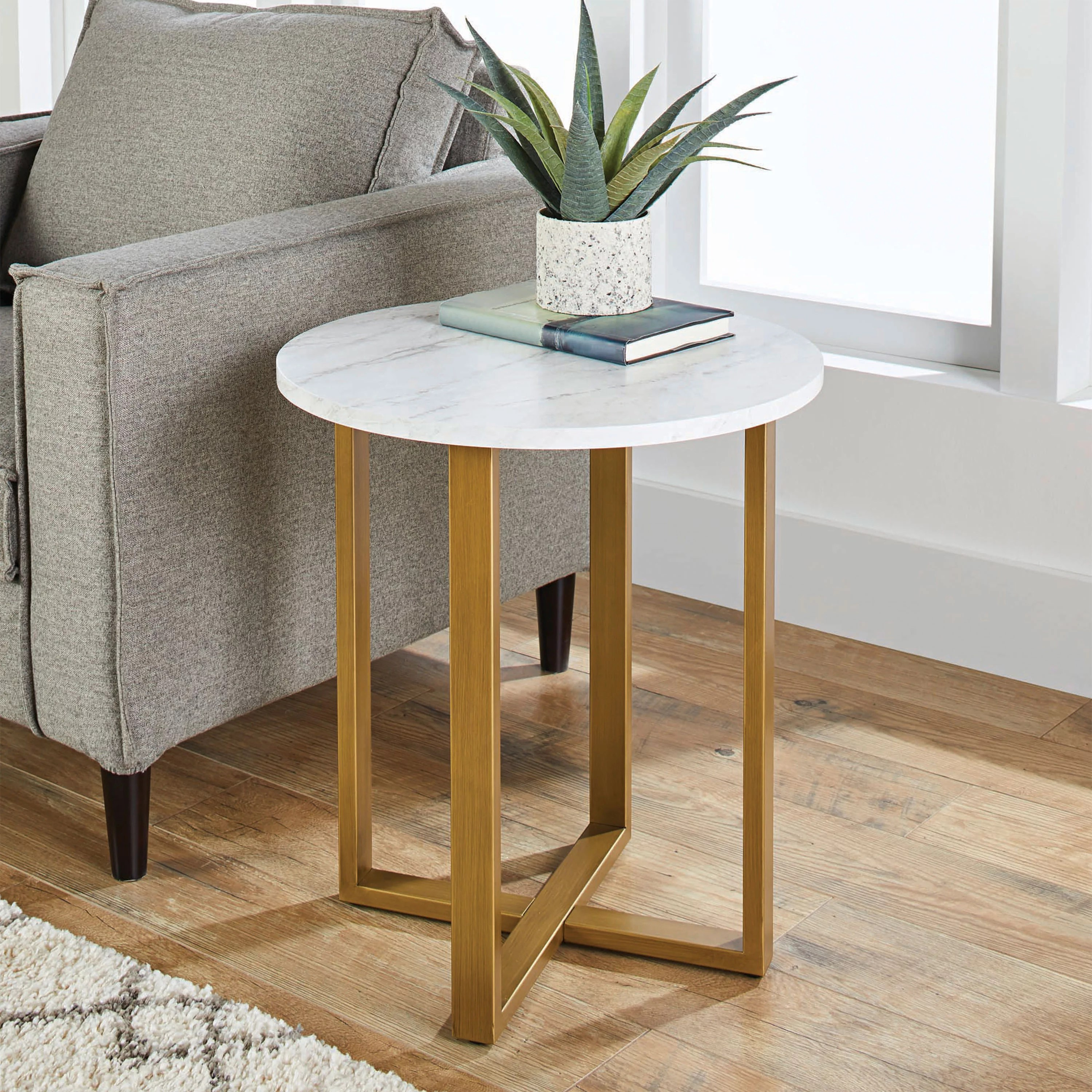 Details About Modern Side Table W Faux Marble Top Round Gold Steel Base Living Room Furniture