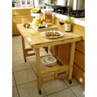 All Wood Folding Serving Table