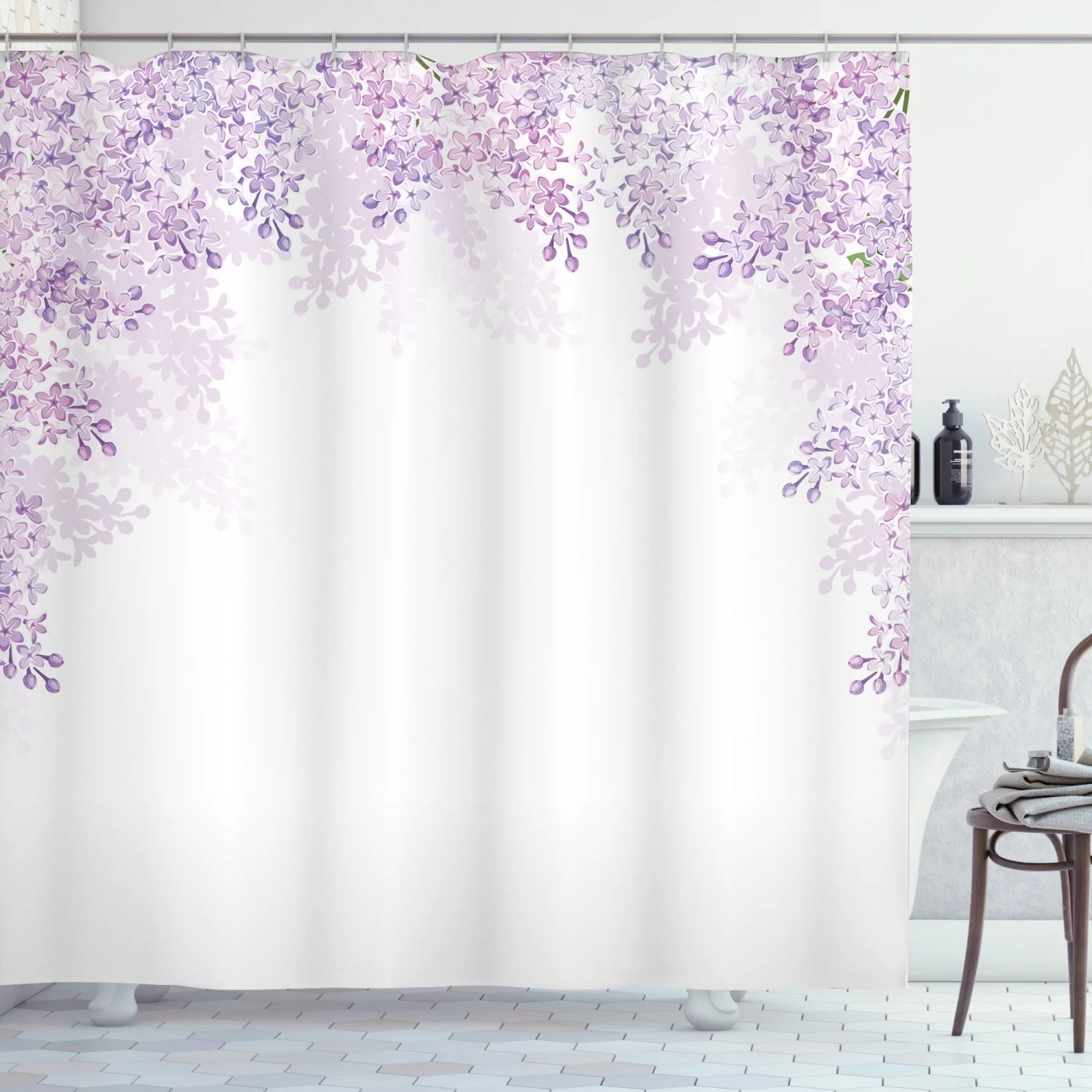 flower shower curtain framing lilac flowers in blossom vernal season soothing color shades fabric bathroom set with hooks pale mauve lavender