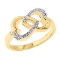 Yellow Gold Infinity Double Heart Diamond Promise Ring ...