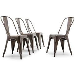 Industrial Style Dining Chairs Marge Carson Belleze Bistro Side Chair Stackable Set Of 4 Bronze Walmart Com