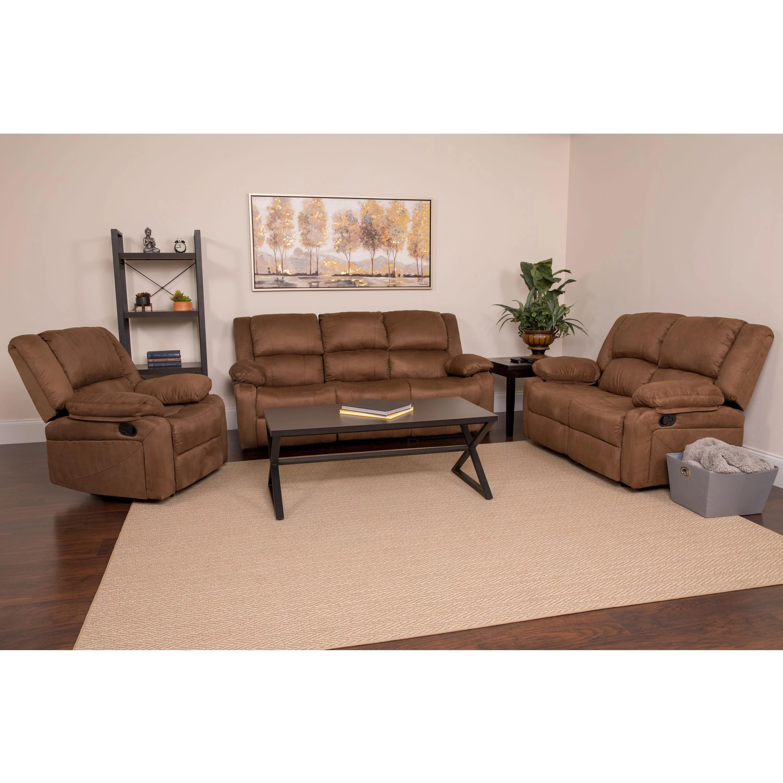 harmony series flash furniture chocolate brown microfiber reclining sofa set walmart com