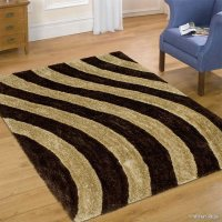 Allstar Coco Shaggy Area Rug with 3D Light Brown Lines ...
