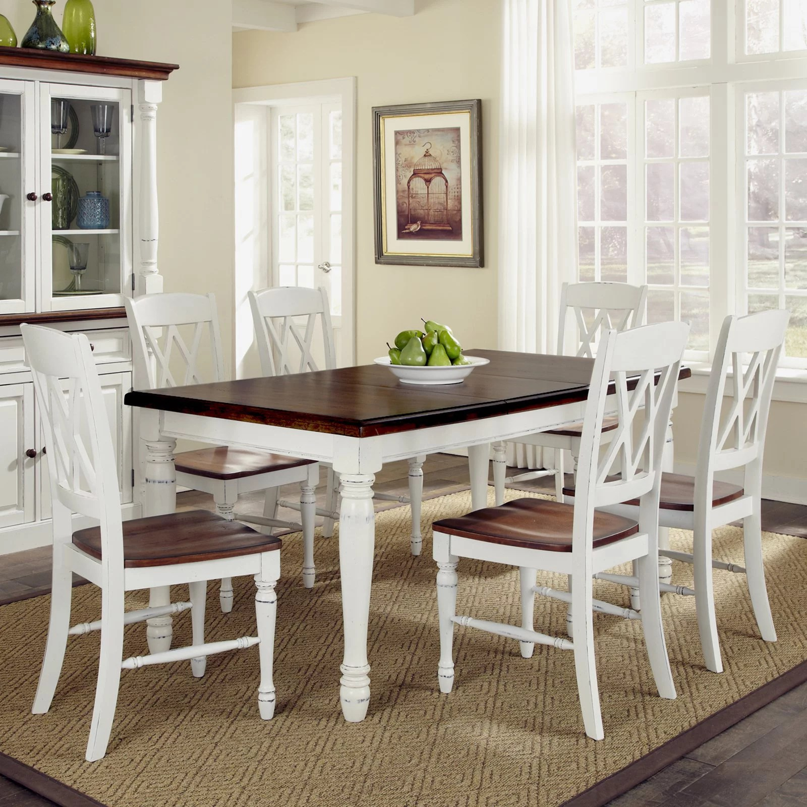 Styles Of Chairs Home Styles Monarch Rectangular Dining Table And 6 Double X Back Chairs Multiple Finishes