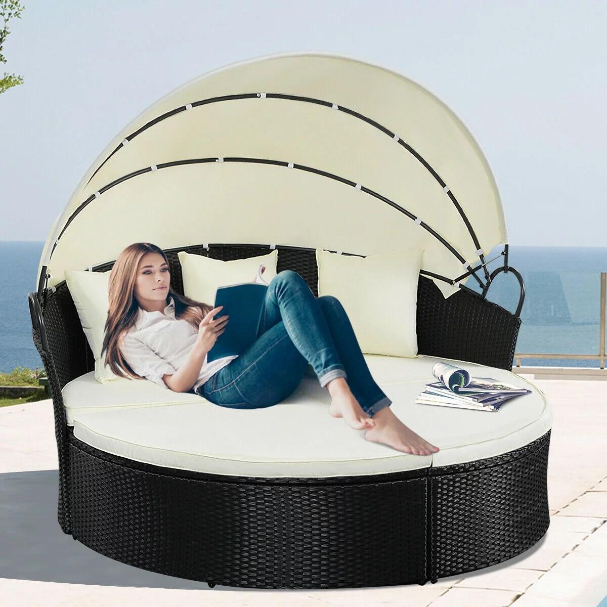 costway outdoor patio sofa furniture round retractable canopy daybed black wicker rattan walmart com