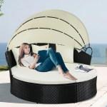Costway Outdoor Patio Sofa Furniture Round Retractable Canopy Daybed Black Wicker Rattan Walmart Com Walmart Com