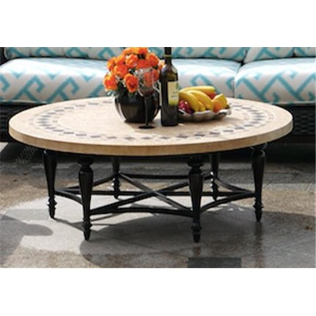 afd home 12011532 astoria round tile outdoor coffee table multicolor 17 x 49 x 49 in