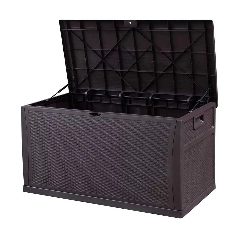 outdoor deck storage box patio resin storage bin outdoor cushion storage 120 gallon brown