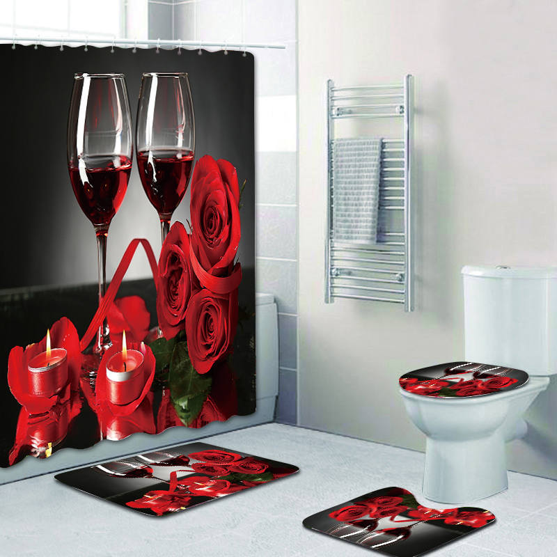 romantic red wine glass rose 3d digital printing shower curtain carpet mat combination bathroom toilet cushion