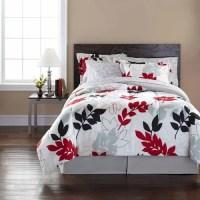 Mainstays Black and Red Leaf Bed in a Bag Bedding Set ...