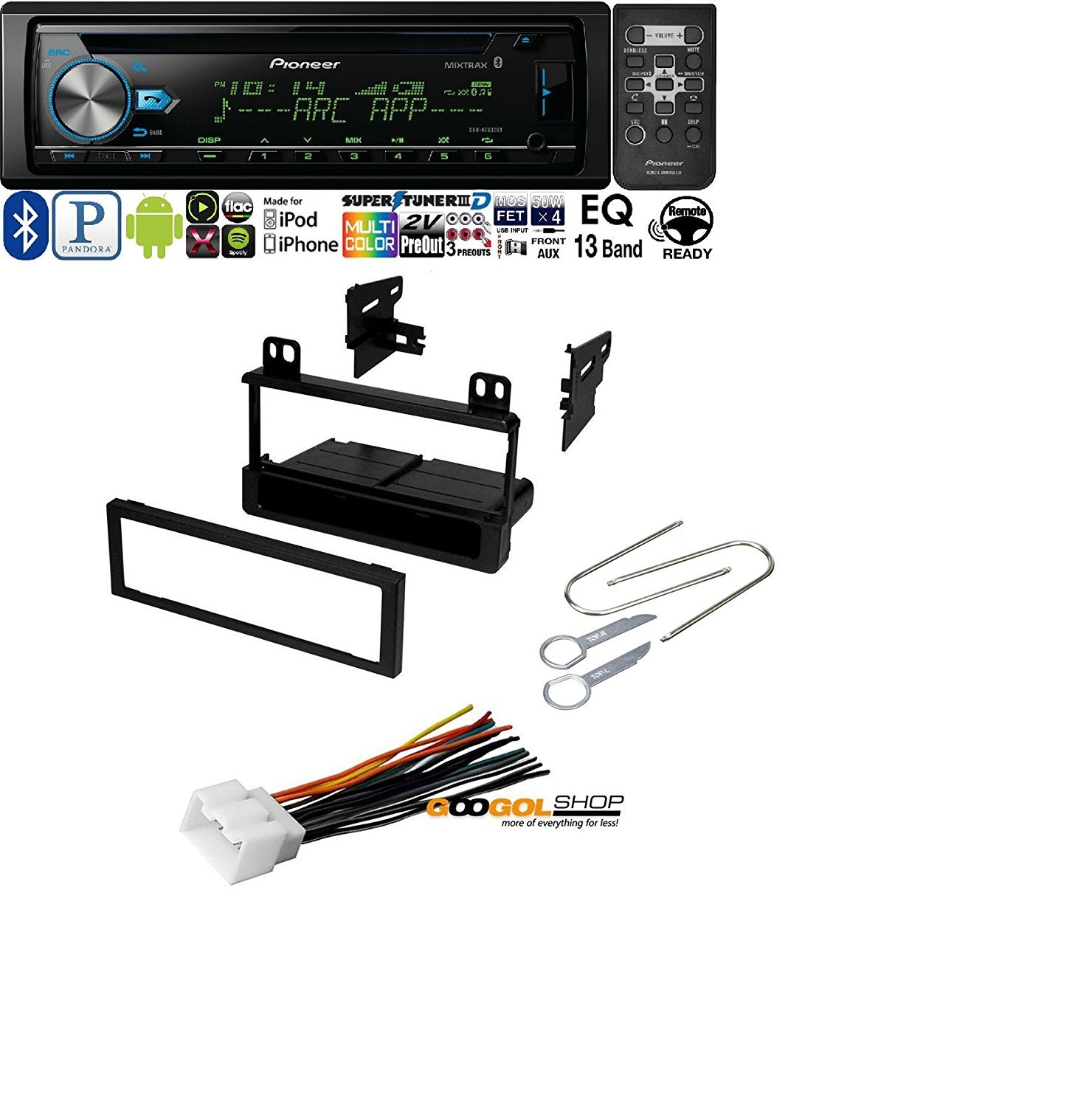 hight resolution of car stereo radio kit dash installation mounting kit wiring harness removal tools with pioneer deh x6900bt vehicle cd digital music player receivers black