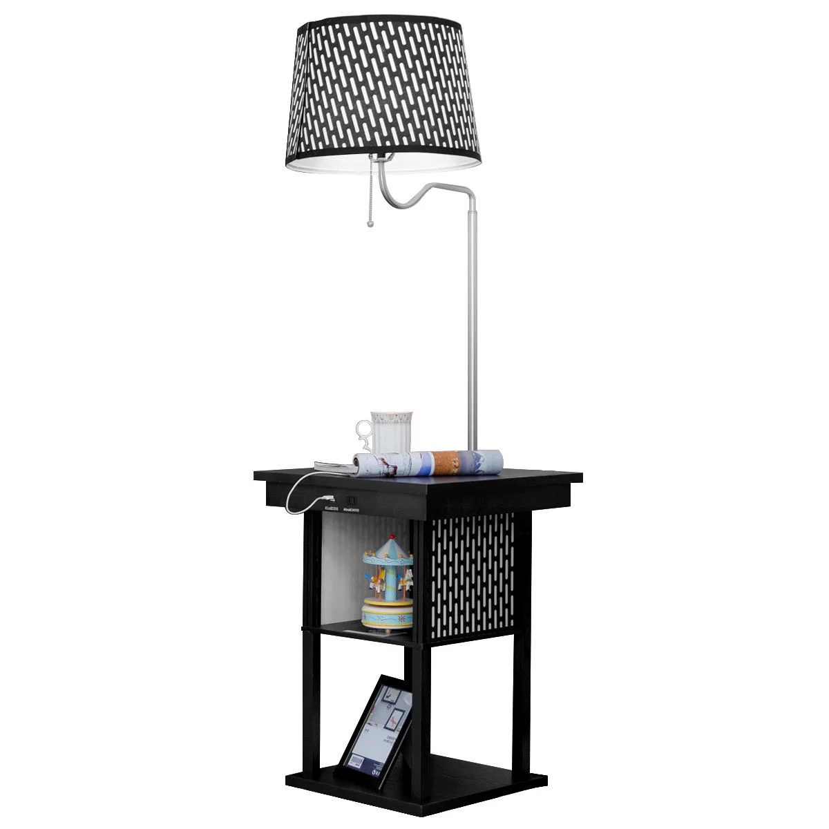 lamp living room blue walls dark furniture gymax floor swing arm built in end table w shade 2 qty