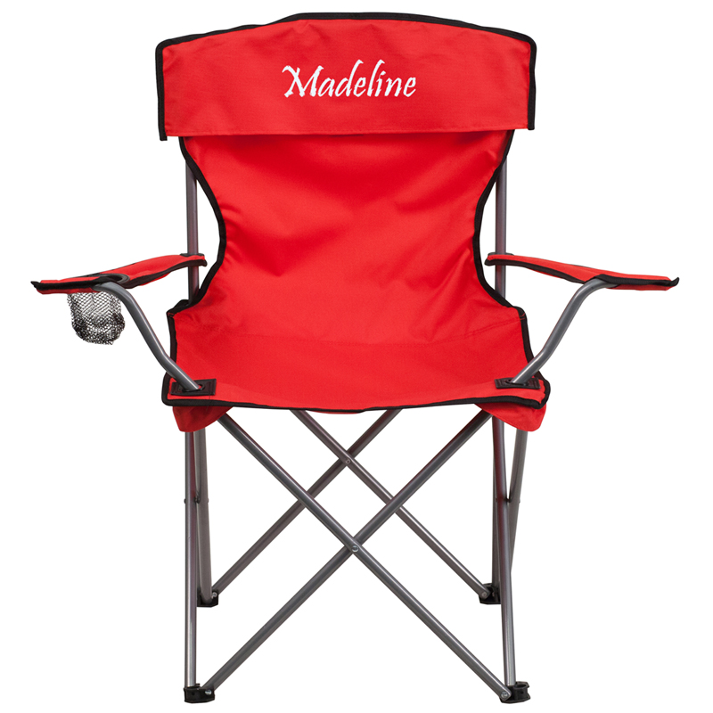 personalized folding chair swing baby sale camping with drink holder in red walmart com