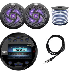 lanzar aqr80b round aquatic waterproof marine stereo in dash bluetooth receiver black 2x pyle plmrs63bl 6 5 marine 2 way 240 watts led black speakers  [ 1600 x 1600 Pixel ]