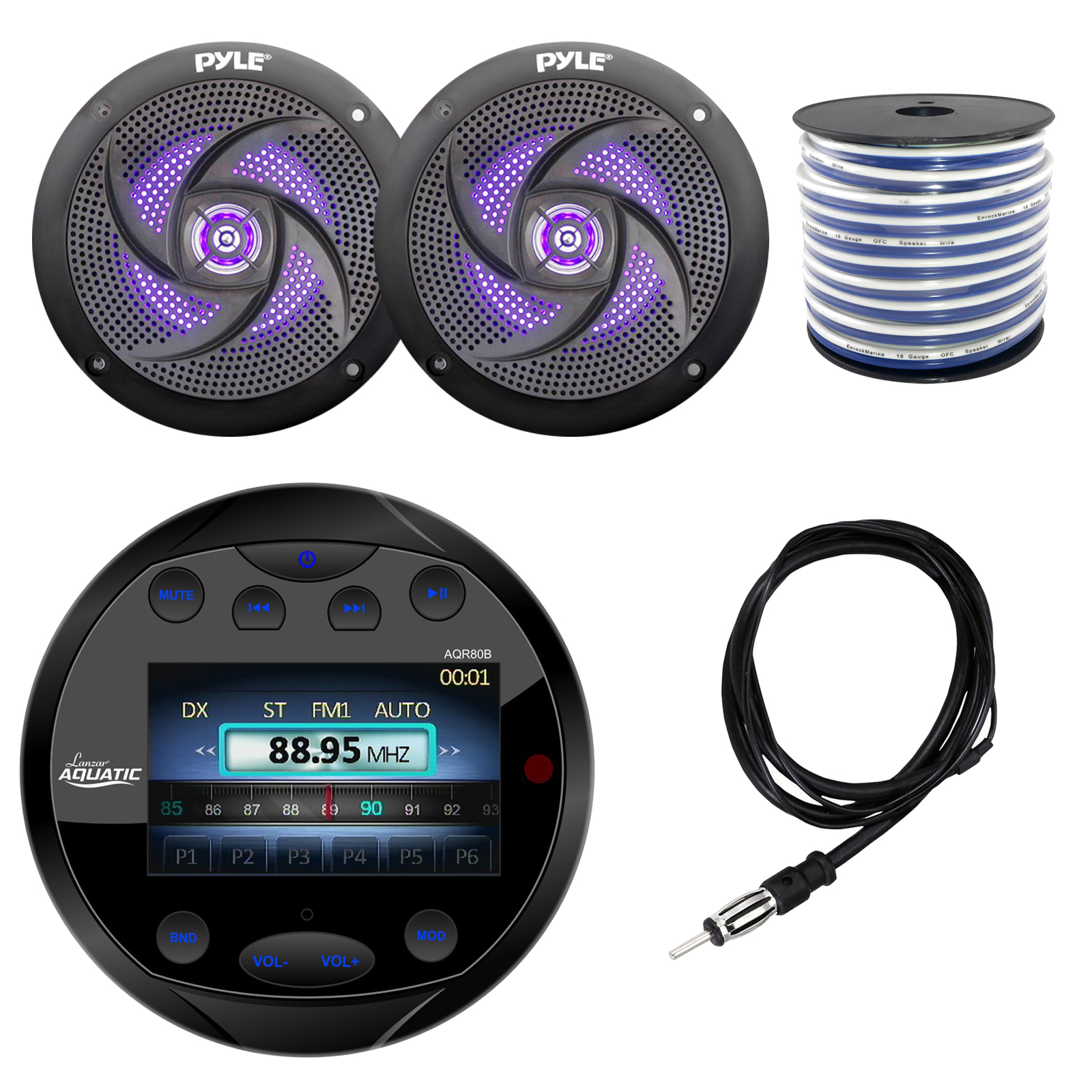 hight resolution of lanzar aqr80b round aquatic waterproof marine stereo in dash bluetooth receiver black 2x pyle plmrs63bl 6 5 marine 2 way 240 watts led black speakers