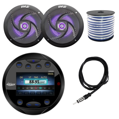 small resolution of lanzar aqr80b round aquatic waterproof marine stereo in dash bluetooth receiver black 2x pyle plmrs63bl 6 5 marine 2 way 240 watts led black speakers